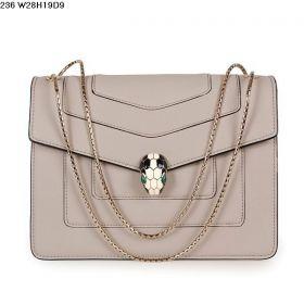 Hot Selling Bvlgari Serpenti Golden Dual-use Chain Strap Ladies Calfskin Leather Fake Flap Shoulder Bag Grey
