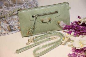 High Quality Balenciaga Purse Oversized Brass Studs Leather Belt Trimming Womens Zipper Clutch Bag Online Green