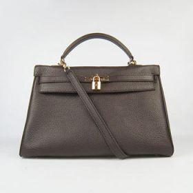 High-end Hermes Kelly 35cm Dark Coffee Togo Leather Handbag Golden Padlock Dupe Daily Work