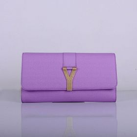 Hot Selling Yves Saint Laurent Brass Hardware Purple Leather Ladies Y Buckle Wallet Replica