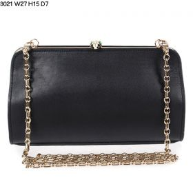 Bvlgari Serpenti Famed Black Leather Light Gold Chain Strap Fake Clutch Bag For Womens In UK