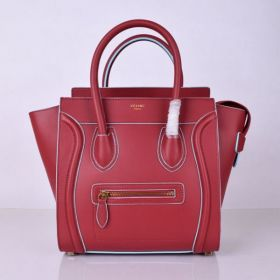 Hot Selling Celine Luggage Light Blue Edging Design Brass Zipped Pocket Womens Red Leather Medium Tote 26CM