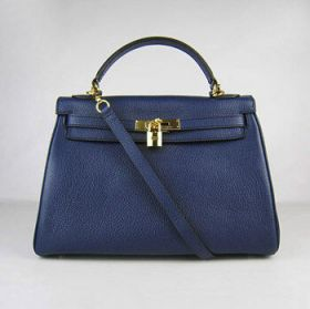 Copy Hermes Kelly Dark Blue Togo Leather 32cm Bag Golden Buckle Chic Style Price Europe