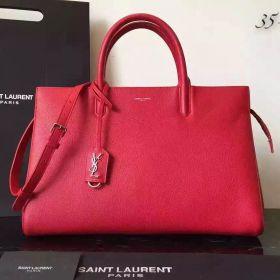Saint Laurent Rive Gauche Top Handles Womens Red Leather Medium Zipper Tote Bag 35.5CM