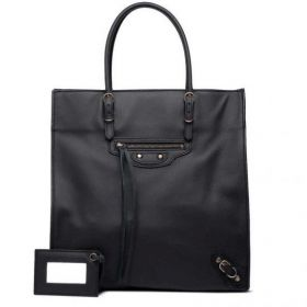 Cheapest Balenciaga Womens Black Lambskin Papier A5 Leather Tassel Zipper Pull Narrow Top-handles Studded Handbag Replica