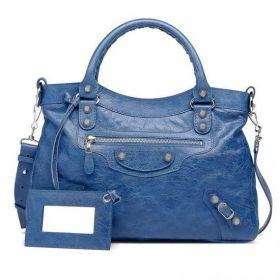 Luxury Balenciaga Giant Town Front Zipper Pocket Detachable Hand Mirror Ladies Silver Studs Totes Bleu Cobalt