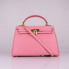 Hermes Kelly Cherry Pink 32cm Togo Leather Bag With Strap Golden Lock And Key Review
