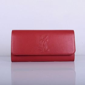Good Reviews Yves Saint Laurent Red Lambskin Leather YSL Logo Detail Womens Snap-button Closure Purse