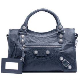 2018 Trendy Balenciaga Giant 21 City Silver Hardware Front Zipper Pocket Ladies Anthracite Soft Lambskin Tote Bag