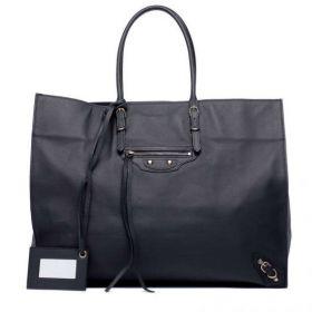 High Quality Balenciaga Papier A4 Removable Hand Mirror Front Zipper Pocket Ladies Black Lambskin Tote Bag