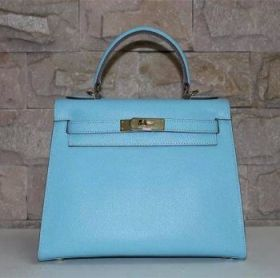 Fake Hermes Kelly 28cm Light Blue Epsom Leather Handbag Golden Lock Flap Closure Seaside Holiday