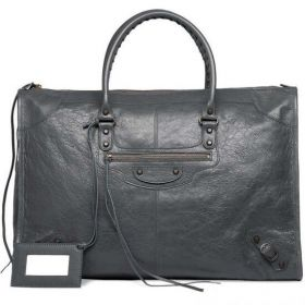 2018 New Balenciaga Classic Weekender Narrow Rounded Top-handles Aged Brass Zipper Pocket Ladies Gris Tarmac Tote