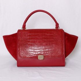 Spring Popular Celine Suede Extra-wide Gussets Single Crocodile Pattern Flap Red Leather Trapeze Bag For Girls