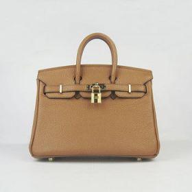 Knockoff Hermes Birkin 25cm Handbag Light Coffee Leather Gold-plated Buckle For Lady Australia Price