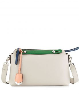 Fendi By the Way Tricolor Small Satchel Bag Pink Trim Blue Zip Green Handle Lady