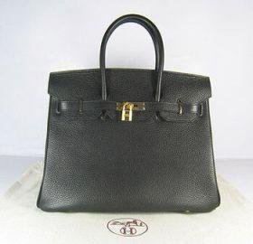 Wholesale Hermes Birkin Black Togo Leather Handbag 35cm Golden Lock Buckle Daily Work Phony NYC