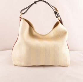 Fendi Pequin Large Red Leather Edging With Beige Striped Linen Hobo Bag Classic Style Malaysia
