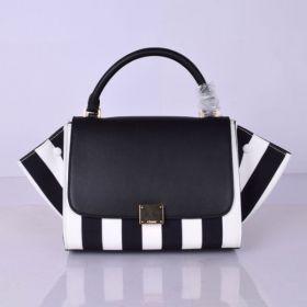 Summer Medium Celine Trapeze Polished Brass Logo Lock Single Handle Black & White Striped Crossbody Bag