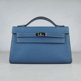 Hermes Kelly 22cm Blue Togo Leather Handbag Silver Lock On Sale Dubai Office Lady