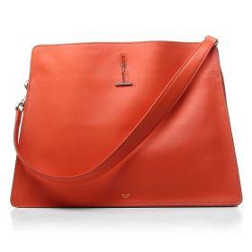 Cheapest Celine Single Flat Handle Silver Link Turn-lock Motif Orange Original Leather Womens Bag