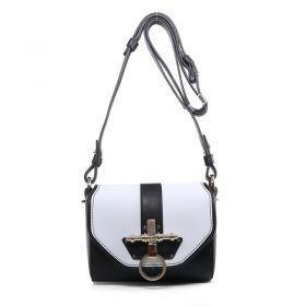 Hot Selling Givenchy Obsedia Turn-lock Detail Ladies Small Black & White Original Calfskin Patchwork Flap Shoulder Bag