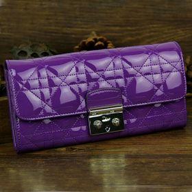 Christian Dior Purple Multi-Compartments Card Case  Purple Cannage-Design  Golden Hardware Flap-over Style UK