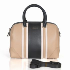 Spring New Givenchy Lucrezia Leather Tim Bar Zipper Top Ladies Rounded Handles Boston Bag Apricot/Black