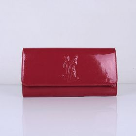 Good Quality Yves Saint Laurent Red Patent Leather Logo Print Ladies Flap Wallet Replica