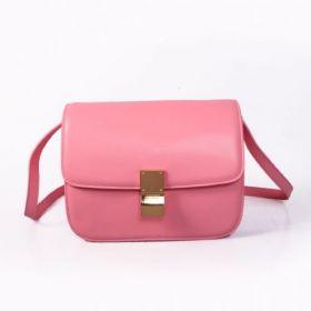 Celine Classic Box High End Calfskin Leather Brass Buckle Motif Pink Flap Saddle Bag For Girls