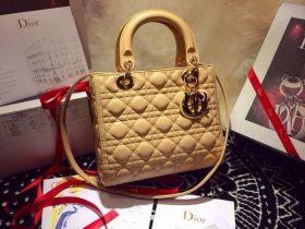 Replica Dior Lady Dior Cannage-Pattern Leather Shoulder-Bag Apricot  Color Golden Hardware