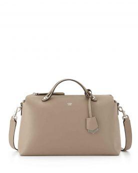 Replica Fendi By The Way Dove Gray Large Satchel Bag Leather Trim Shoulder Belt USA
