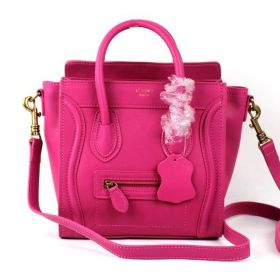 High Quality Celine Luggage Womens Small Rose Leather Double Top Handles Yellow Brass Zipper Handbag