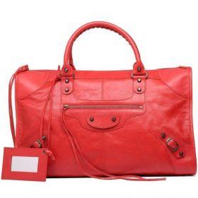 2018 Collection Balenciaga Work Coquelicot Lambskin Brass Buckle & Zipper Pocket Detail Ladies Leather Tassels Handbag