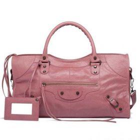 Popular Balenciaga Aged Brass Studs Female Part Time Leather Tassel Trimming Rose Bruyere Clone Tote Bag