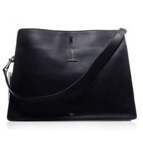 Celine Original Leather Silver Hardware Central Zipper Compartment Ladies Black Shoulder Bag Price UK
