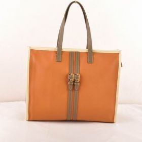 Fendi Pequin Earth Yellow Ferrari Leather Shopping Brown Belt-shaped Trim Tote Bag Vintage For Lady