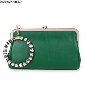 Bvlgari Serpenti Famed Round Enamel-Golden Bracelet Light Gold Framed Green Leather Evening Bag For Womens