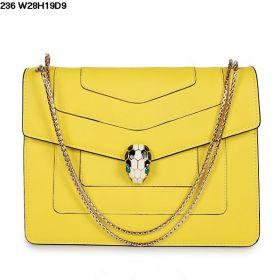 Good Reviews Bvlgari Serpenti Womens Yellow Calfskin Leather Black-White Enamel Snake Head Flap Bag Replica