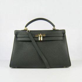 Hermes Kelly 35cm Black Togo Leather Handbag Gold-plated Padlock Shopping/Working Women USA Clone