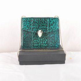 All The Rage Bvlgari Serpenti Narrow Golden Chain Strap Womens Green Snake Veins Leather Shoulder Bag Online