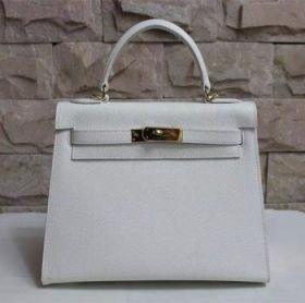 Hermes Kelly Elegant 28cm White Epsom Leather Handbag Golden Lock US Price Shopping/Dating