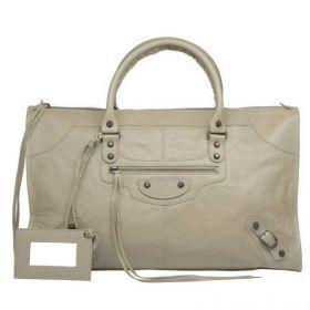 Balenciaga Classic Work Brass Buckle & Studs Details Ladies Latte Zipper Tote Bag With Hand Mirror