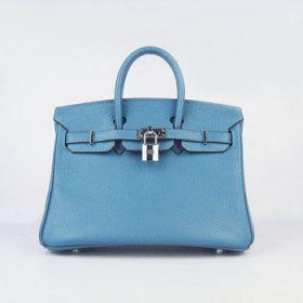 Hermes Birkin Women's Blue Cowhide Leather Handbag 25cm Silver Lock And Key 2018 Summer Style