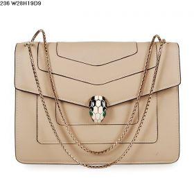 Bvlgari Serpenti Light Gold Hardware Ladies Apricot Calfskin Leather Chain Strap Flap Bag Price List