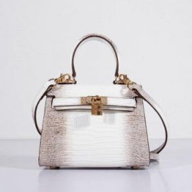Hermes Kelly Lady Replica 20cm Grey White Lizard Leather Bag Golden Buckle Top Handle Dating
