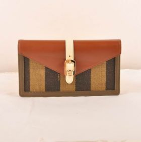 Fendi Imitation Zucca Brown Calfskin Leather Striped Fabric Flap Wallet Vintage Style Women NYC Sale