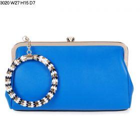 Bvlgari Serpenti Famed Black-White Enamelled Detachable Bracelet Female Blue Leather Clutch Bag With Zipper Back Pocket