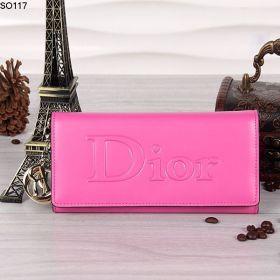 Christian Dior Golden Logo Trims Cardholder Peach  Leather Exterior For Sale Women