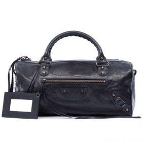 2018 Latest Balenciaga Black Long Twiggy Belt & Buckle Motif Leather Tassels Trimming Ladies Studded Boston Bag