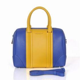 Hot Selling Women's Givenchy Lucrezia Leather Trimming Golden Logo Detail Blue/Yellow Zipper Boston Bag